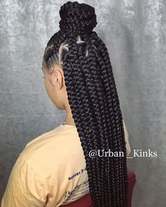 ✨Urbanista✨ Jumbo Triangle Box Braids w/ Feedin Cornrows The perfect Summer Style … Cute, Simple Slay Tag your homegirl. Tag your coworker ❗… – - Box Braids Hairstyles Braided Hairstyles For Black Women, African Braids Hairstyles, Braid Hairstyles, Hairstyles Games, Hairstyles 2018, African Hair Braiding, Evening Hairstyles, Teenage Hairstyles, Hairstyles Videos
