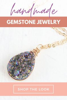 If you're looking for an exotic example of master class handcrafted jewelry, you've come to the right place! Our remarkable rainbow druzy teardrop rose gold pendant necklace is one of a kind! Each handcrafted multicolor rainbow design will add just the right glitzy appearance to your collection! #handmadenecklace #pendant #rosegoldjewelry #druzyjewelry Fashion Jewelry Necklaces, Unique Necklaces, Handmade Necklaces, Fashion Necklace, Jewelry Shop, Handcrafted Jewelry, Unique Jewelry, Cute Necklace, Drop Necklace