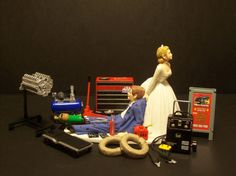 Mechanic Bride and Groom Funny Wedding Cake Topper $78.99  I want this so badly for my fiancé!!!!