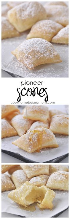 Scone Recipe Pioneer Scone Recipe - they are little pillows of heaven! Top them with honey and butter!Pioneer Scone Recipe - they are little pillows of heaven! Top them with honey and butter! Brownie Desserts, Oreo Dessert, Mini Desserts, Just Desserts, Delicious Desserts, Yummy Food, Light Desserts, Breakfast Recipes, Dessert Recipes