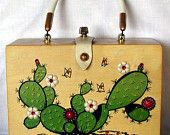 Enid Collins Vintage Box Bag, Cactus Flowers