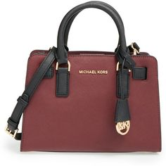 MICHAEL Michael Kors'Small' Bicolor SaffianoLeather Satchel ($137) ❤ liked on Polyvore featuring bags, handbags, crossbody purse, red satchel, red crossbody purse, satchel handbags and red satchel purse