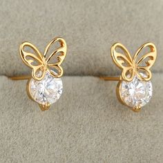 12mm 18K Gold Plated Fashion Lovely Hollow Butterfly Shape Inlaid Round Zircon Ladies Copper Earrings