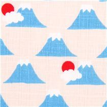 white-grey structured mountain Mt Fuji fabric Cosmo Japan - Asia Fabric - Fabric