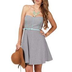 Tease Me Black/White/Mint Striped Dress ($16) found on Polyvore