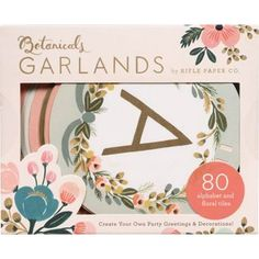 ✍ Design :✍: Color Pallete ✍ Rifle Paper Co.'s popular Botanicals design looks sweet and elegant in this artful garland kit. Create your own party greetings and decorations with a variety of tiles featuring the floral prints and