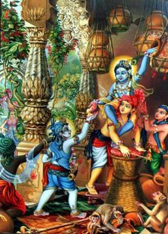 """""""Lord Krishna's pastimes of stealing butter from the elderly gopis, enjoying life with His cowherd boyfriends and the young gopis, playing His flute and engaging in the räsa dance, etc., are all-auspicious spiritual activities, and they are fully described in the Tenth Canto of this work. """""""