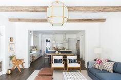 Living room remodel in a California home. Living room design and inspo. Wood beams, dark wood floors, white walls. | Studio McGee Blog