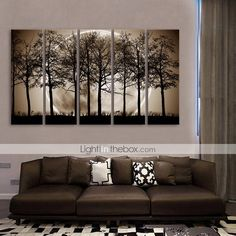 E-HOME® Stretched Canvas Art The Night Under The Shadows of The Trees Decoration Painting Set of 5 - USD $ 121.99