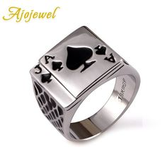 Chunky Black Enamel Spades Poker Ring Men Silver Color