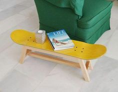 Looking to buy someone a great present and they enjoy skateboarding? Skateboard stools to complete your morning coffee on skate coffee table for skateboard magazine or small item storage, anywhere you want to add a touch of skateboarding decor. Patio Furniture Redo, Retro Furniture, Sofa Furniture, Kids Furniture, Furniture Design, Furniture Buyers, Furniture Websites, Woodworking Furniture, Furniture Stores