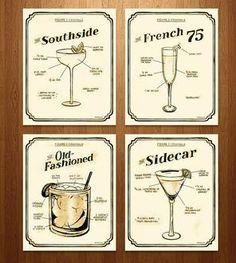 Exclusive Prohibition Era Cocktail Prints – Set of 4