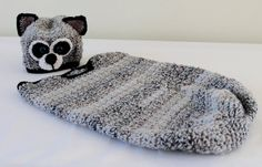 Baby  Crochet Baby Raccoon Cocoon  Black by SnuggableStitches