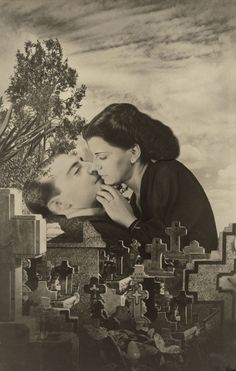 """Grete Stern, """"Sueño No. 22: Último beso"""", 1949. At a 1967 exhibition of her Sueños, Stern delivered a speech titled """"Notes on Photomontage"""", outlining a brief history of photomontage and her own working process. In this address, Stern emphasized the importance of a photomontage's title. First published as """"Los Sueños de Muerte"""", Stern later titled this work """"Último beso"""", echoing the dramatic and cinematic flair of the lovers embrace."""