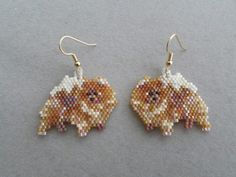 Beaded Pomeranian Earrings by DsBeadedCrochetedEtc on Etsy Leaf Earrings, Etsy Earrings, Beaded Earrings, Beaded Jewelry, Crochet Earrings, Beading Needles, Loom Beading, Beading Patterns, Peyote Patterns
