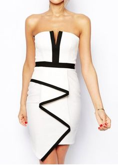 Sexy Strapless Sleeveless Spliced Special Cut Bodycon Women's Dress
