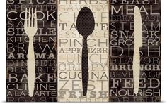 Serve up custom kitchen word art in your dining room alongside your favorite meals. Kitchen Word Trio III including fork, spoon, and knife wall art via @greatbigcanvas available at GreatBIGCanvas.com.