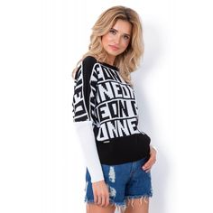 Pulover sport in doua tonuri cu inscriptii ON NEON-3 Dolman Top, Typographic Design, Neon, Adidas Jacket, Cozy Knit, Street Style, High Point, Knitting, Jackets