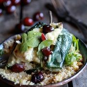 Roasted Cherry, Couscous and Brie Stuffed Poblano Peppers