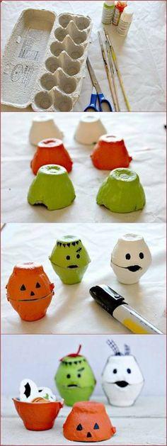 Egg carton craft idea for Halloween! Deco Haloween, Theme Halloween, Halloween Crafts For Kids, Halloween Activities, Holidays Halloween, Fall Crafts, Holiday Crafts, Holiday Fun, Kids Crafts