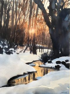 44 Trendy Painting Watercolor Sunset Landscapes Ethereal Watercolor Paintings Beautifully Simple and Easy Landscape Painting IdeasAbstract Art, Cloud Painting Print , Cloud Print ,… Watercolor Sunset, Watercolor Landscape Paintings, Watercolor Trees, Watercolour Painting, Watercolors, Sunset Landscape, Winter Landscape, Landscape Art, Landscape Lighting