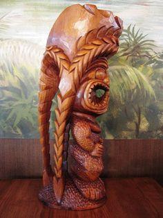 Ku Kealoha: Protector of God, 'The Love' - Kauai Carver Tiki Totem, Tiki Tiki, Easter Island Statues, Tiki Hawaii, Tiki Statues, Tiki Lounge, Tiki Mask, Hawaiian Art, Wood Sculpture