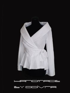 Wrap White shirt  cotton blouse/ Custom made Smart casual Work/ Career shirt for women by FedRaDD