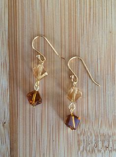 Gold Plated Brown Crystal Drop Earrings  on Etsy, $18.00