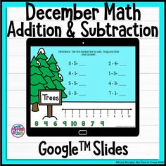 December Math Addition and Subtraction Google Slides