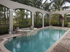 Pool and spa overlooking Rookery golf course