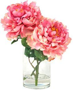Fake flower arrangement using dollar store vase glass pebbles creative displays peonies in a cylinder glass vase peony arrangement silk flower arrangements silk mightylinksfo