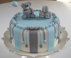 Baby Shower Cake  Love the colors. Looks good in pink too!