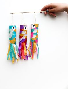 Koinobori (Japanese Flying Carp) DIY - looks like toilet paper rolls & tissue paper (or construction paper) ... how awesome, fun, easy & cheap to make with kids!