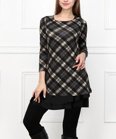 Look what I found on #zulily! Charcoal & Black Plaid Ruffle Hem Dress #zulilyfinds