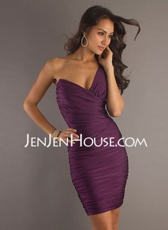 Cocktail Dresses - $175.39 - Sheath One-Shoulder Short/Mini Chiffon  Charmeuse Cocktail Dresses With Ruffle (016008812) http://jenjenhouse.com/Sheath-One-shoulder-Short-Mini-Chiffon--Charmeuse-Cocktail-Dresses-With-Ruffle-016008812-g8812