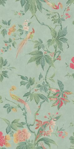 Paradise Sage Green wallpaper by Little Greene