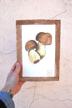 Fungo illustrazione acquerello verdura di LabLiu su Etsy