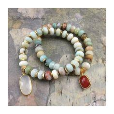 New Amazonite bracelets!✌🏻Now listed in the shop! Boho Jewelry, Handmade Jewelry, Beaded Bracelets, Diy Bracelet, Pendant Set, Boho Chic, Etsy Shop, Chain, Jealous