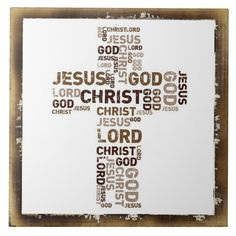 Jesus, Christ, God, Lord, Word Cloud In Cross Tile Wall Logo, Spiritual Disciplines, Cross Art, Catholic Religion, Churches Of Christ, First Holy Communion, Lent, Names Of Jesus, God Is Good