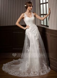 A-Line/Princess Sweetheart Chapel Train Satin Tulle Wedding Dress With Ruffle Lace (002011450)