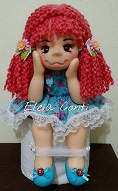 Boneca Porta Papel higienico, uma boneca graciosa para decorar seu lavabo.