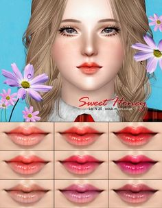 Sweet Honey Lipstick N35 by S Club via Sims 4 Downloads tagged makeup lipstick lip gloss balm