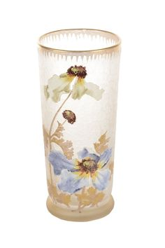 Legras Mont Joye Beautiful Art Nouveau Hand Painted Enamel Glass Vase Signed | eBay