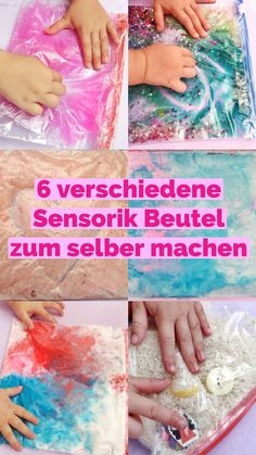 6 verschiedene Sensorik Beutel – einfache Spielidee für Kinder Today I will show you how you can make sensor bags yourself. The different types are suitable for both babies and children. A simple game and activity idea that works without any mess. Easy Crafts For Kids, Diy For Kids, Diy And Crafts, Summer Crafts, Sensory Bags, Diy Bebe, Simple Bags, Play Doh, Baby Crafts