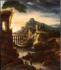 Evening: Landscape with an Aqueduct Théodore Gericault (French, Rouen 1791–1824 Paris) Date: 1818 Medium: Oil on canvas Accession Number: 1989.183