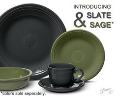 New Fiesta Colors for 2015 - Fiesta Slate & Fiesta Sage - The natural earthy color trend is strong and these are sure to mix and match with so many colors. http://dinnerwareusa.com #FiestaColors #FiestaSlate #FiestaSage