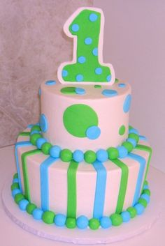 1st Birthday Blue And Green Cupcake Tower Topper Cake Cupcakes Birthdays Party Ideas