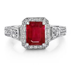 Emerald Cut Ruby and Diamond Ring in Platinum...need a near perfect Ruby for this...emerald cut hides NOTHING!!