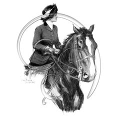 Freebie digital download Georgeous Horse Riding Illustration (free download)