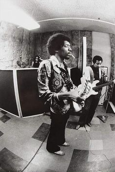 Jimi Hendrix in the studio with Mitch Mitchell and Billy Cox, 1969